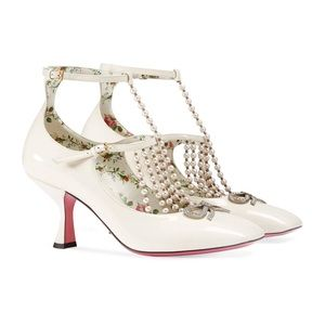 Gucci Patent T-Strap Pumps w/Pearls